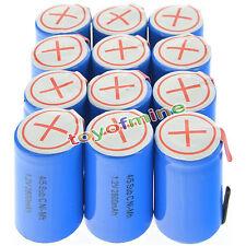 12 pcs 4/5 SubC Sub C 2800mAh 1.2V Ni-Mh rechargeable Bleu pile avec Tab
