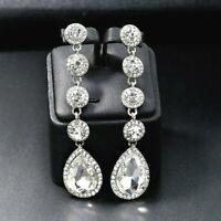 Silver Crystal Long Drop Rhinestone Diamante Bridal Wedding Dangle Earrings *UK*