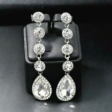 Silver Crystal Long Drop Rhinestone Diamante Bridal Wedding Dangle Earrings *UK*