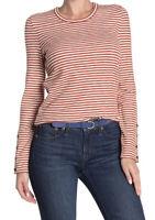 New Madewell Button Cuff Stripe XS Long Sleeve Tee Shirt Crew Neck Orange Maple