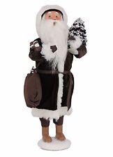 Byers Choice Chocolate Santa Signed J Byers Dressed all in Dark Brown Velvet