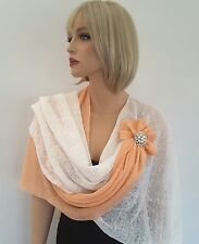 Knitted 100 % Linen Ivory - Peach  poncho wrap shawl, women's occasion wear