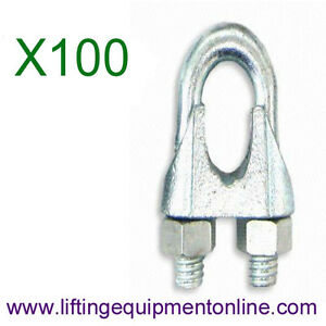100 x 3mm Galvanised Wire Rope Grips