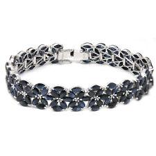 De Buman Sterling Silver Natural Sapphire Bracelet 7.5 Inches