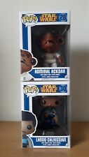 Funko pop Star Wars Admiral Ackbar 28 Lando Calrissian 30 Rare +2 pop protectors