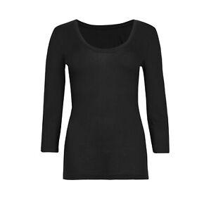 No Show Heatgen Top New Marks & Spencer Womens 3/4 Sleeve M&S Thermal Scoop Neck