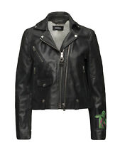 $698 Diesel Women's L-Aimee Patched Motorcycle Black Leather Jacket Size S