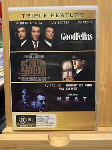 GOODFELLAS / ONCE UPON A TIME IN AMERICA / HEAT (4 DVD) Region 4 Rare