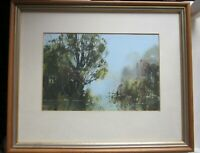 Framed Watercolour painting impressionist style Landscape, river by David Gay.