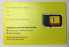 YESSS (A1) Österreich Simkarte bereits aktiviert mit 30 Euro Bonusguthaben