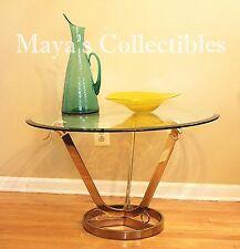 Hollywood Regency Gazelle Head Coffee Table Glass & Brass Maison Jansen Style