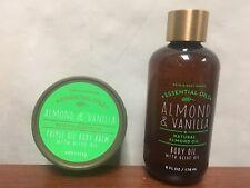 NEW Set of 2 Bath and Body Works Almond & Vanilla Body Oil 6oz & Body Balm 4oz
