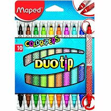 Maped Duo Tip Markers Double Ended Thick & Thin Felt Pens Colouring Art Drawing