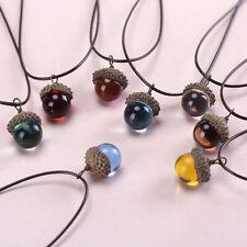 Handgefertigte Harz Farbe Kristalltropfen Anhänger Kautschuk Eichel Halskette