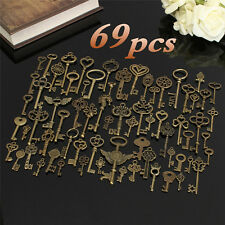 69x Antique Vintage Old Look Bronze Skeleton Key Fancy Heart Bow Pendant Decorec