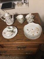 🌾Lefton China Gold Wheat Tea & Snack Set 2768 Set of 8 w/Teapot, Cream & Sugar