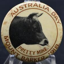 Wwi World War One Australia Day 1918 Pretty Mike Cow Pinback Button Badge Scarce