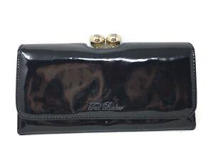 Ted Baker London Wallet Kassady Womens Black Patent Leather Kisslock Clutch