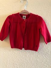 PETIT BATEAU Red Cotton Cardigan Sweatshirt 6