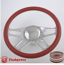 14'' billet steering wheels burgundy half wrap Custom Ford Fairlane Galaxie