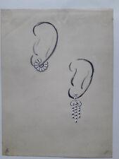 DESPRES Dessin original GOUACHE 2 Boucles d'oreille Pétales BIJOU ART DECO 1930