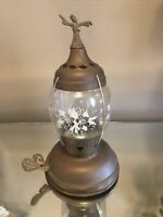 Vintage Brass Candle Lantern With Flower Design Globe Robe Figure On Top UNIQUE