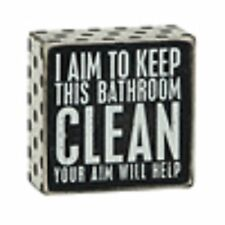 1 X I Aim To Keep This Bathroom CLEAN Your Aim Will Help Wooden Sign, New, Free