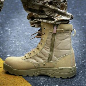 Uomo Stivali Militari Pelle Stivali da Lavoro Anfibi Militari Trekking Scarpe