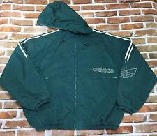 Adidas Vintage Puffy Jacket Track Full Zip Windbreaker Mens XL Green White Nylon