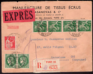 2507 FRANCE TO SPAIN CENSORED REGISTERED EXPRESS COVER 1940 PARIS - BARCELONA