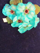 "Vintage Millinery Flower 2 3/4"" Rich Turquoise Blue for Hat Wedding + Hair Y257"