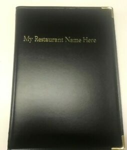 QTY 20 A4 MENU FOLDERS IN PU STITCHED BLACK WITH YOUR RESTAURANT NAME PRINTED