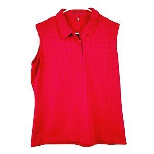 Nike Golf Fit Dri Pink Patterned Sleeveless 1/4 Zip Polo Womens Size Large 12 14