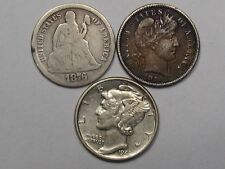 3 US Dimes: 1876 Seated Liberty, 1914-d Barber & 1943 Mercury. #42