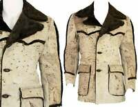 70s Vtg Mens 40 or M Western Coat Swagger Cowhide Rough Out Suede Sherpa Hippy