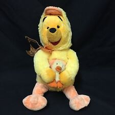 Disney Store Easter Winnie The Pooh Wearing Chicken Costume Chick Duck Plush Toy