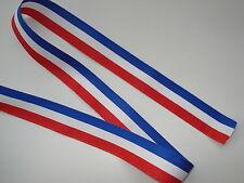 Cinta tricolor BLANCO AZUL ROJO ancho 15mm vendido en ml (reclutas, medallas)
