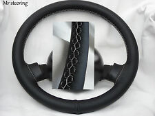 FITS FORD EXPLORER 95-01 REAL BLACK LEATHER STEERING WHEEL COVER WHITE STITCH