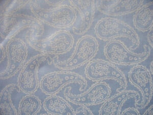 BLUE PAISLEY RAISED EMRODIERY WHITE COTTON FABRIC 15 IN SCRAP CUT