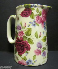 Heron Cross Pottery SUMMER ROSE Chintz English 1/2 Pint Milk Jug