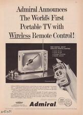 1959 Admiral Portable TV w/SON-R Remote Control vintage print ad