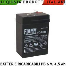 Batteria Ricaricabile Pb Ermetica 6 V. 4,5 Ah Antifurti Lampade Emergenza Giochi