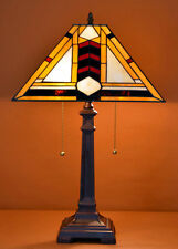 "14.5""W Mission style Stained Glass Handcrafted Table Desk Lamp , Zinc Base!"