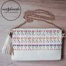 Cream Embellished Tassel Clutch Shoulder Bag Boho Evening Day Ladies Gift Beaded