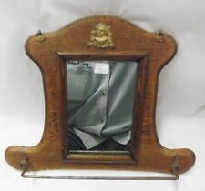 """Antique Oak Mirror with Towel Rack, 9 1/2"""" Tall, 12 1/2"""" at base,"""