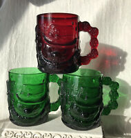Three 3 Arcoroc Vintage Glass Frosty Snowmen Mugs, 1 Ruby Red, 2 Green