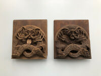 Antique Carved Wood Wooden Oriental Decorative Adjustable Bookends. Folding