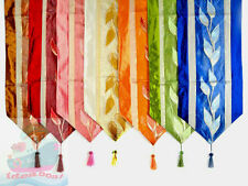 33x200cm Home Decor SATIN/ORGANZA LEAVES Pattern Style Table Runner & Tassels