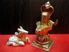 HINDU PUJA BRASS SHIVLING / SHIVLINGAM NAAG WITH NANDI BULL SHIVA SHIV CARRIER