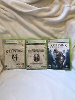 xbox 360 Game Lot Elder Scrolls Oblivion, Shivering Isles, Assassins Creed Used